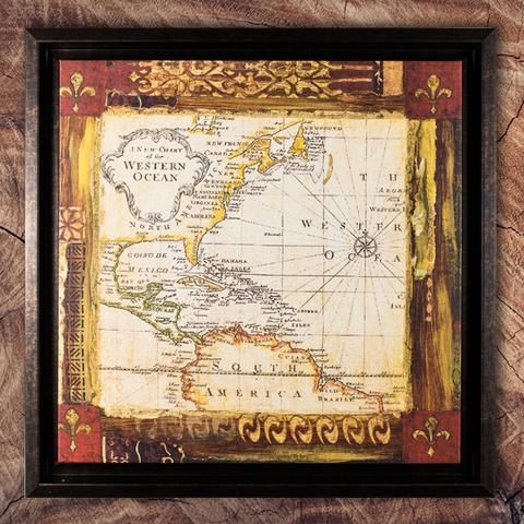 Old world map framed painting print on canvas american art decor old world map framed painting print on canvas american art decor gumiabroncs Image collections