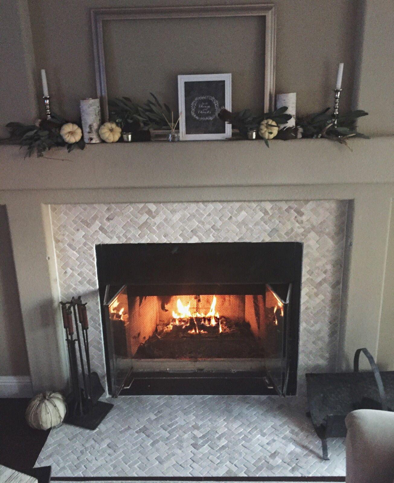 Cream Herringbone Stone Mosaic Tile Mosaic Fireplace Firep