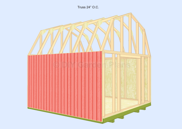 Gambrel Barn Shed Plans Truss 24 O C Shed Plans Gambrel Barn Style Shed