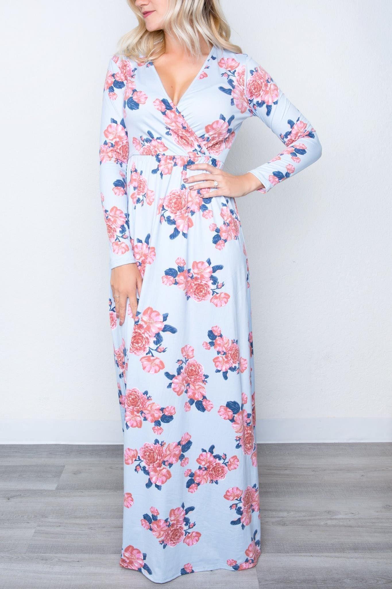 Amelia James Saratoga Maxi Dress Faux Wrap Floor Length Long Sleeve