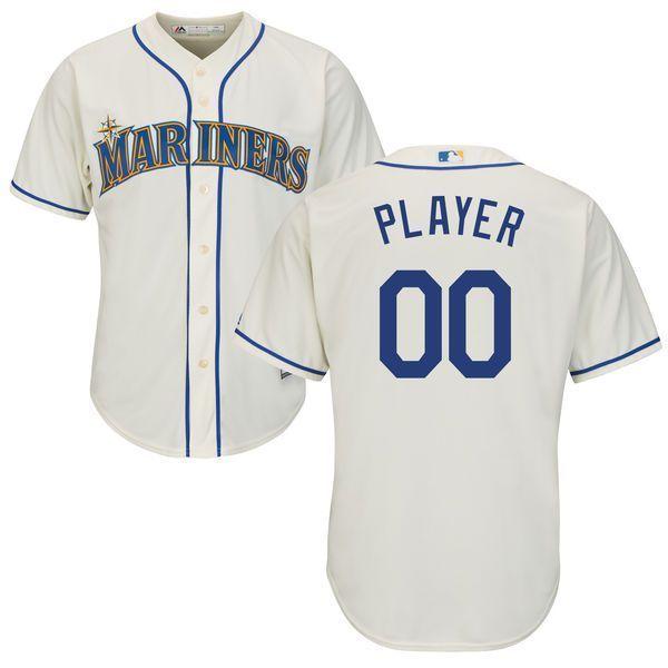 f19fa830845 Men Seattle Mariners Majestic Cream Cool Base Custom MLB Jersey ...