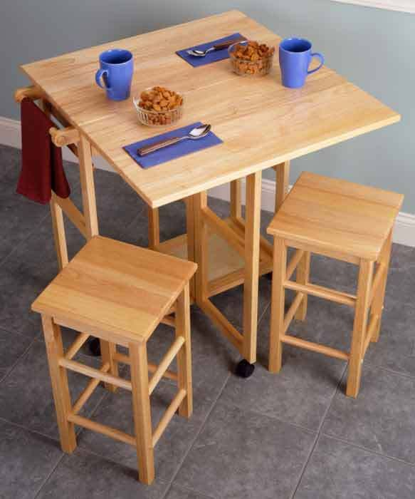 Leaf Kitchen Island Table Stools Pictures E Saver Piece Small Nesting Dining