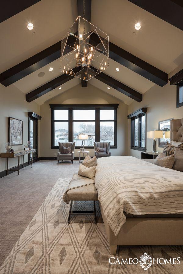 A Modern Rustic Master Bedroom In Utah By Cameo Homes Inc Luxury Home Builder