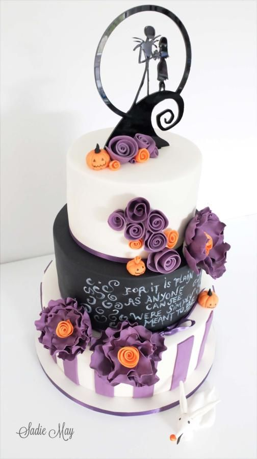 PURPLE Nightmare before Christmas Wedding Cake Topper OR Glasses Server Or Book