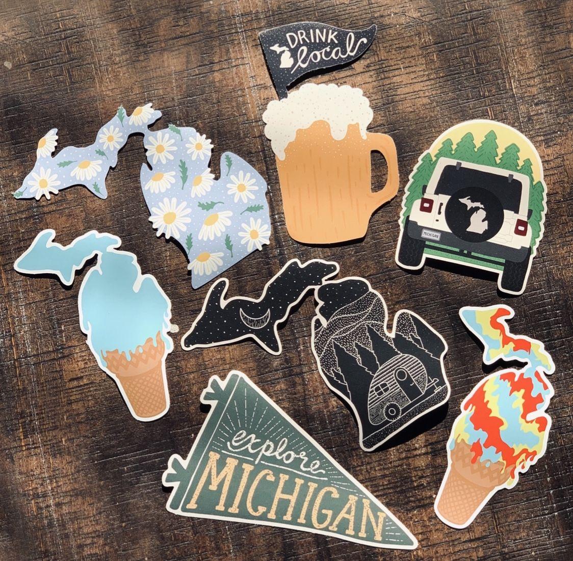 Stuck On Michigan Stickers Michigan Sticker Michigan Gifts Craft Stickers [ 1101 x 1124 Pixel ]
