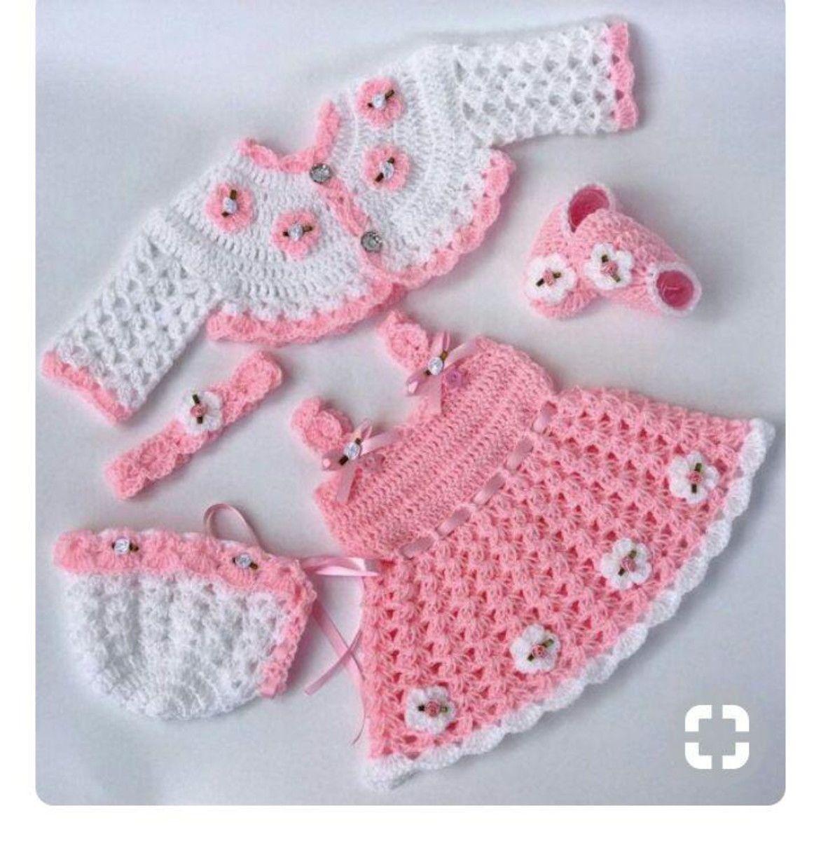 Conjunto vestido infantil de croche | Puppenkleider, Häkelmuster und ...