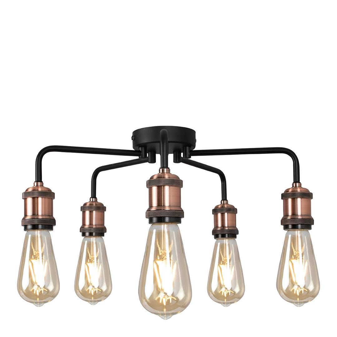 Pagazzi Lighting Copper Black 5 Light Semi Flush Ceiling Light In