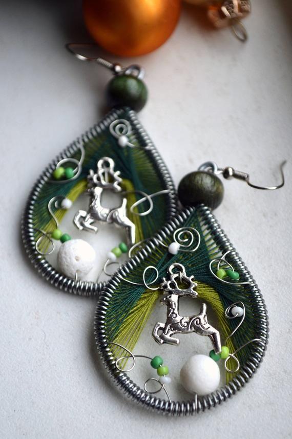 Christmas earrings Secret Santa gift Inspirational her Rudolph earrings reindeer earrings Peruvian earrings Christmas snow jewelry snowball #secretsantaideasforwork
