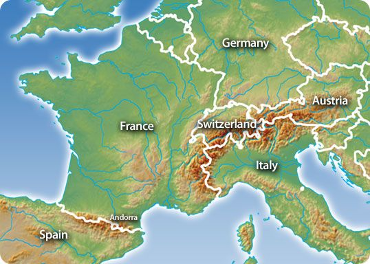 France On A Map Of Europe.Map Europe Austria France Germany Italy Classroom Alps Map