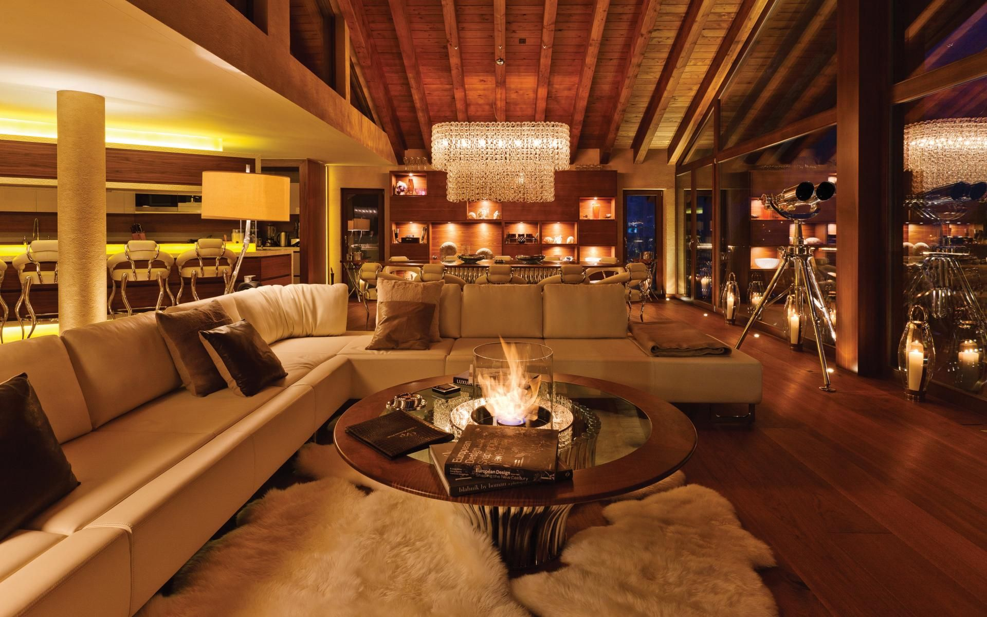 The Bio Flame Coffee Table At Chalet Zermatt Peak Luxury Ski Switzerland