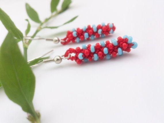 Beaded earring Crochet earrings Crochet jewelry Beaded by GuruMIme, $10.00