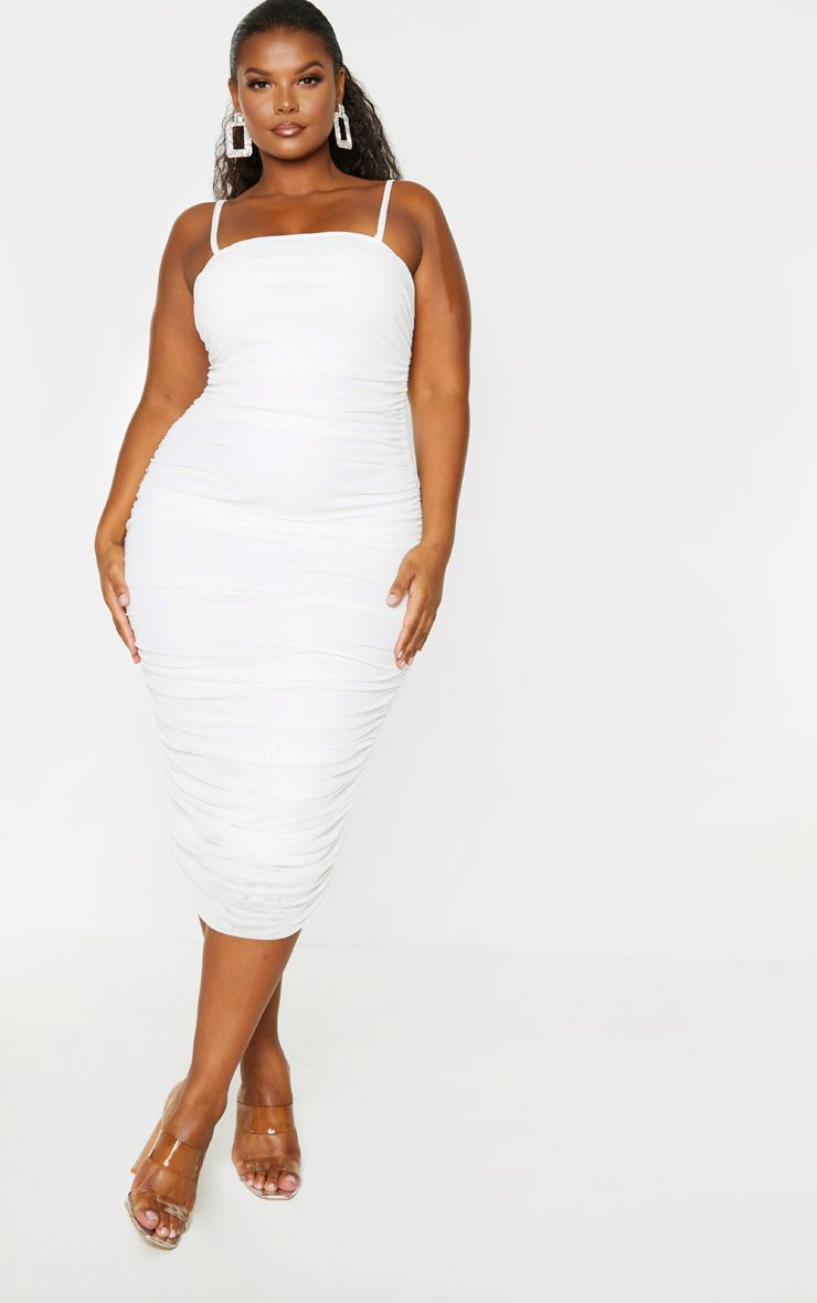 Plus Cream Mesh Ruching Strappy Midi Dress Strappy Midi Dress Mesh Bodycon Dress Plus Size Dresses [ 1180 x 740 Pixel ]