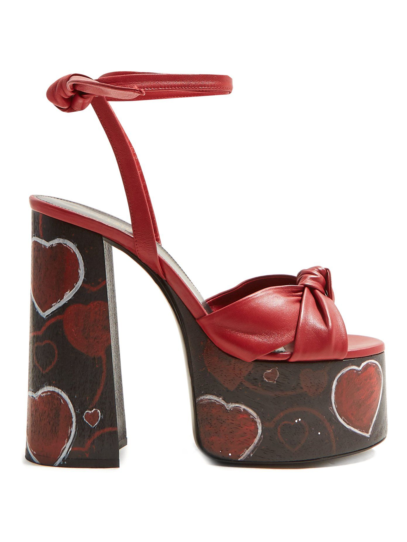 fa4a1f7f6 Paige heart-print platform leather sandals | Saint Laurent | Shoes ...