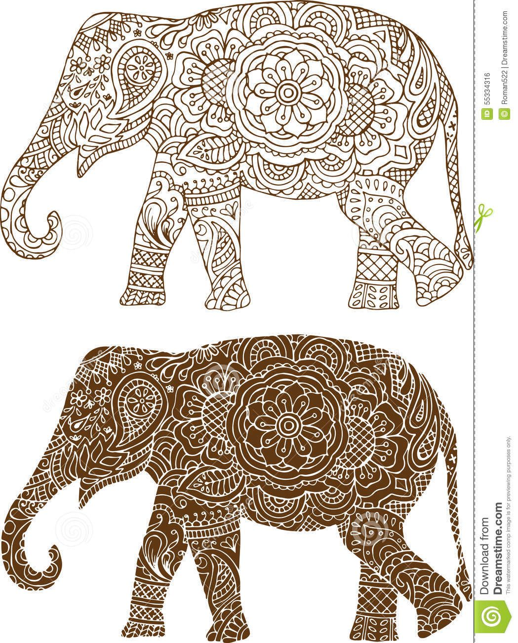 Zentangle Elefant Vorlage Indian Elephant Patterns Silhouettes Stencils