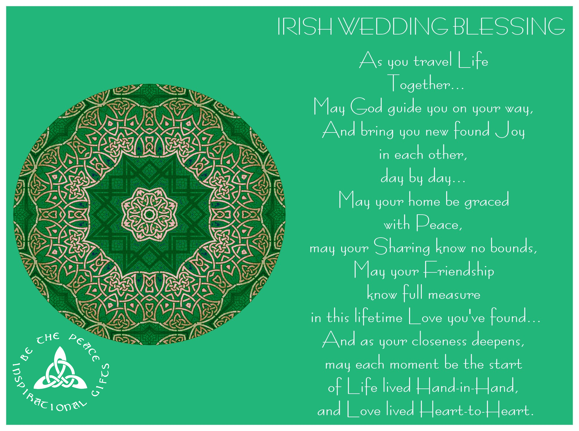 """IRISH WEDDING BLESSING...""""As you travel Life Together"""