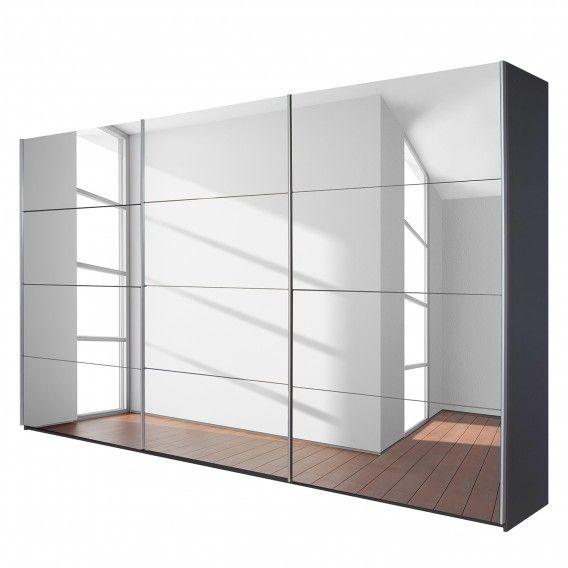 Schwebetürenschrank spiegelfront  Schwebetürenschrank Quadra (Spiegel) - Grau-metallic | Home24 ...