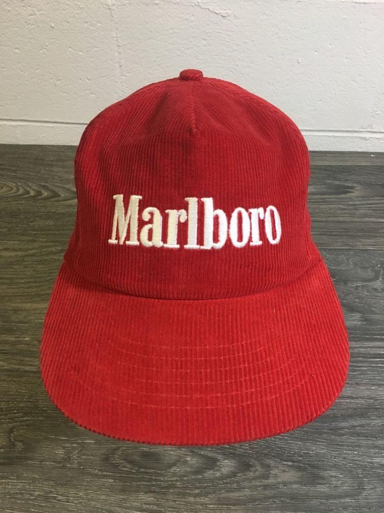 9069ad3b3cb Marlboro Corduroy Snapback Hat Vtg 80s 90s Iconic Cigarrettes NWOT Sewn Cap   HabitatIndustries  Marlboro  Vintage  corduroy  Cigs  80s  80sfashion