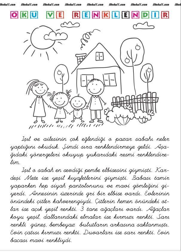Ilkokul1com Okuma Anlama Boyama 1 A Sınıfı Word Search