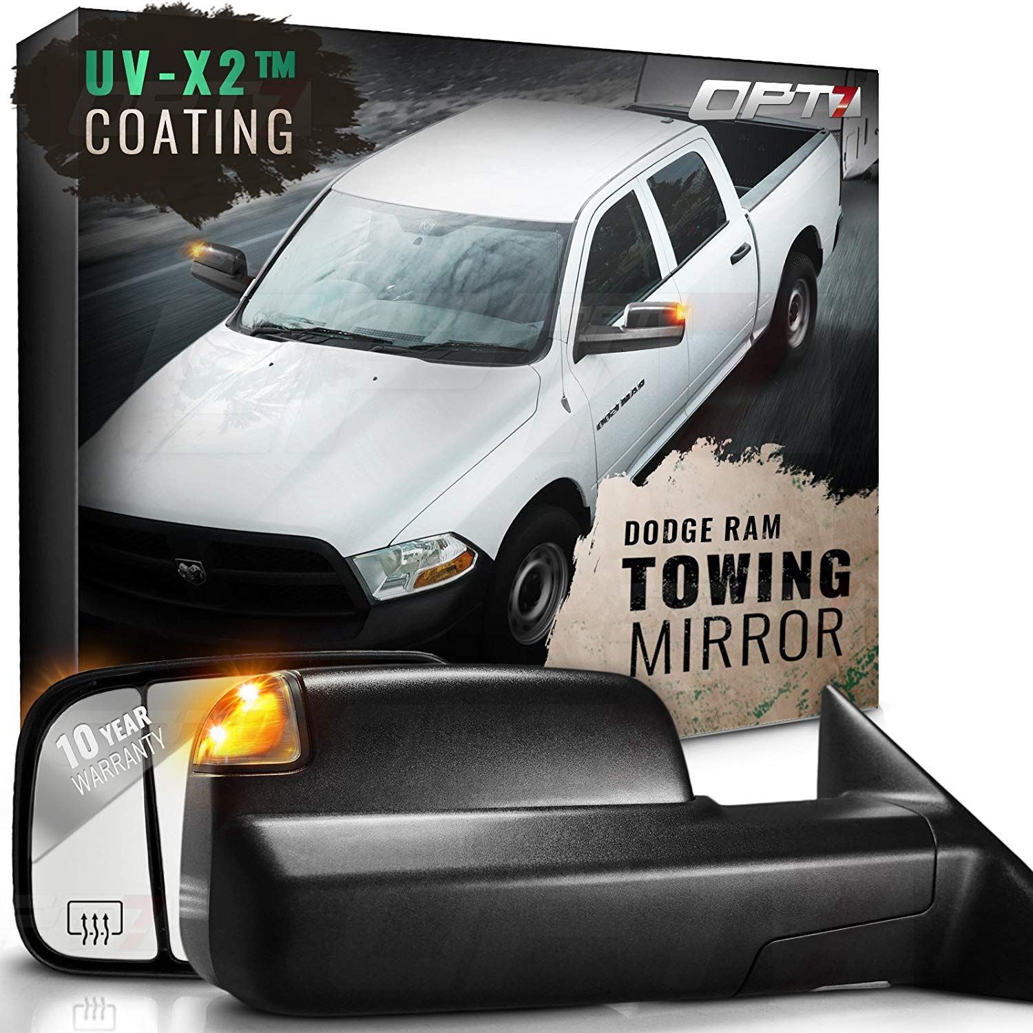 Opt7 Deluxe Pair Truck Towing Trailer Mirrors For 2009 2012 Dodge Ram 1500 2500 3500 Powered Heated Turn Signals Dodge Ram 2012 Dodge Ram 1500 Towing Mirrors