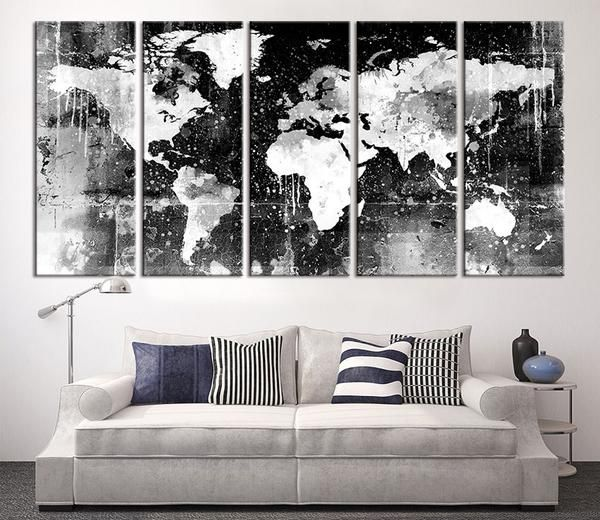Canvas Print Black And White World Map Wall Art Ready To Hang - Oversized world map canvas