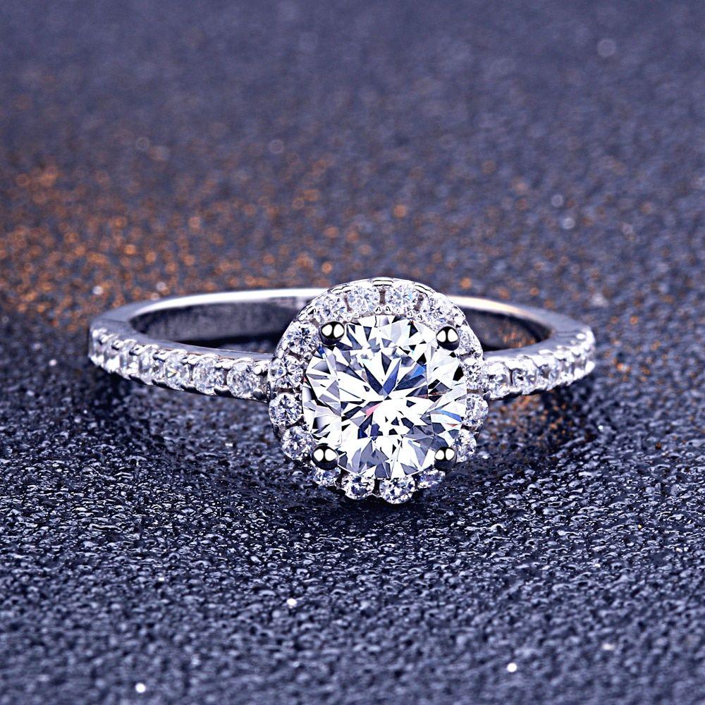SL Rhinestone Diamond Wedding Ring Set For Women White