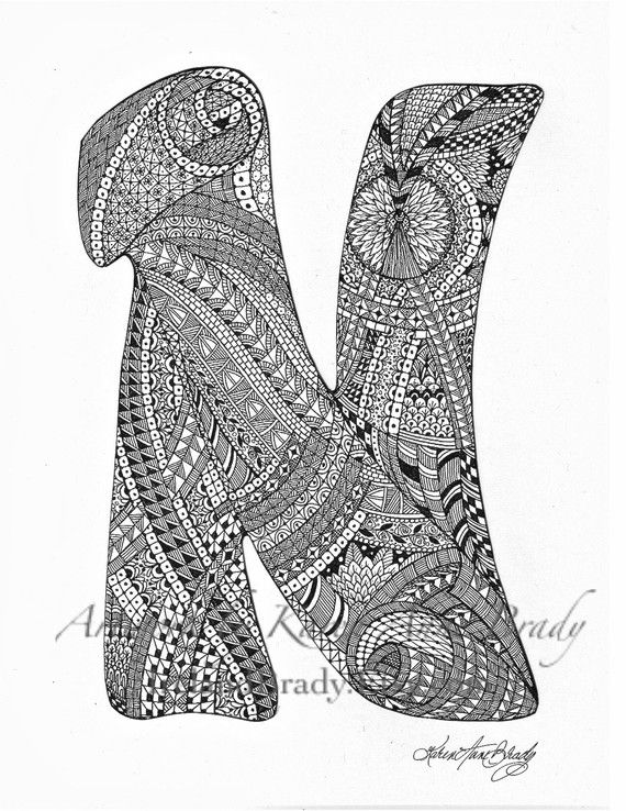 zentangle coloring pages letter n | ACEO Alphabet N letter a zentangle inspired by ...