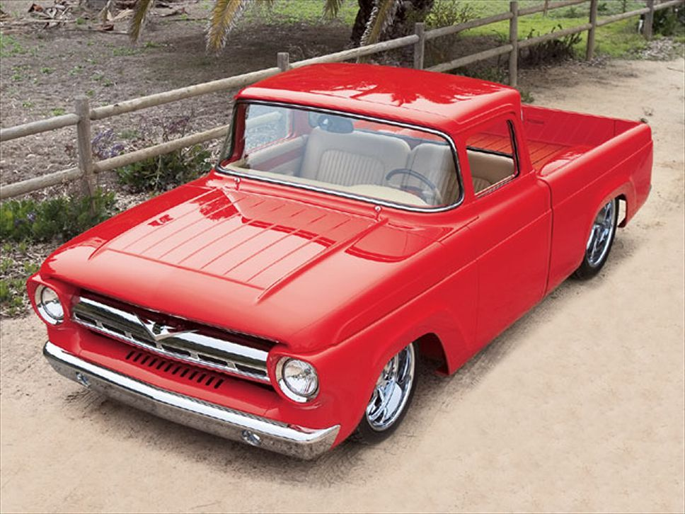 1957 Ford F100, saw this truck on the Hot Rod Power Tour a couple of years ago, the craftsmanship that went into it is amazing, every panel on it has been massaged.