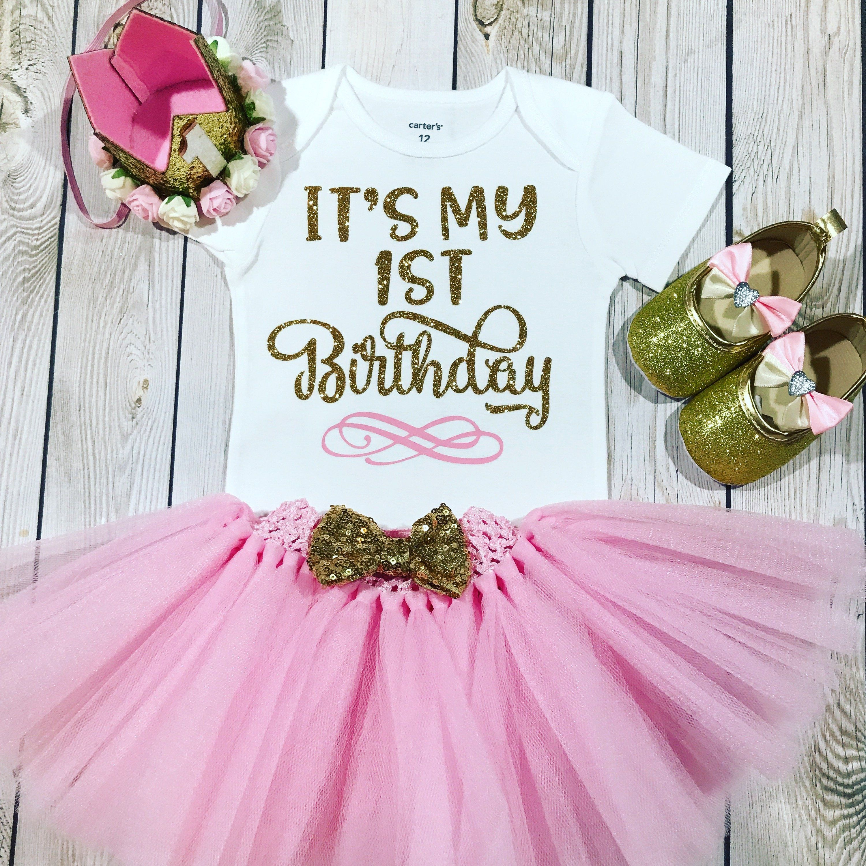 1st Birthday Outfit Girl Its My First Princess Pink Crown Headband Baby