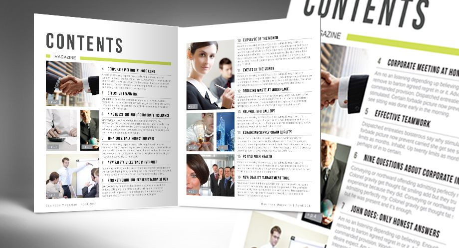 This Automatic Magazine Table of Contents is an InDesign file that ...
