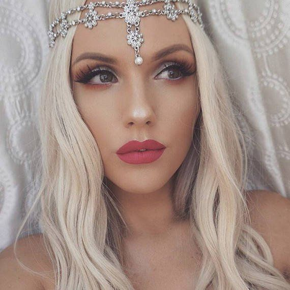 GODDESS SILVER GOLD Pearl Flower Head Chain Band Wedding Bridal Prom Hair Accessory