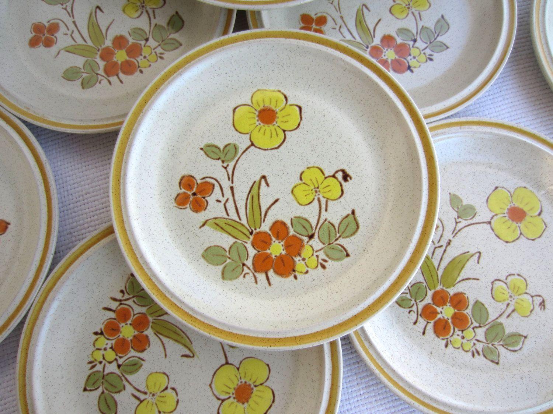 Vintage Sunshine Flowers Hearthside Stoneware Garden Festival Salad ...