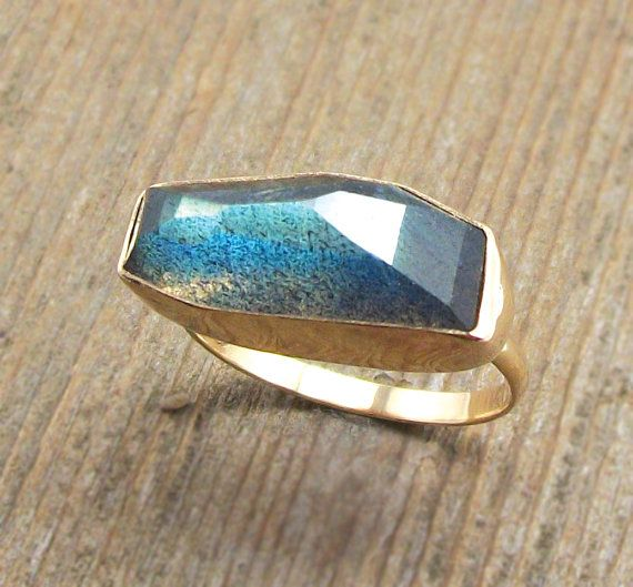 Geometric Labradorite Ring Solid 14K Gold by PointNoPointStudio, $460.00