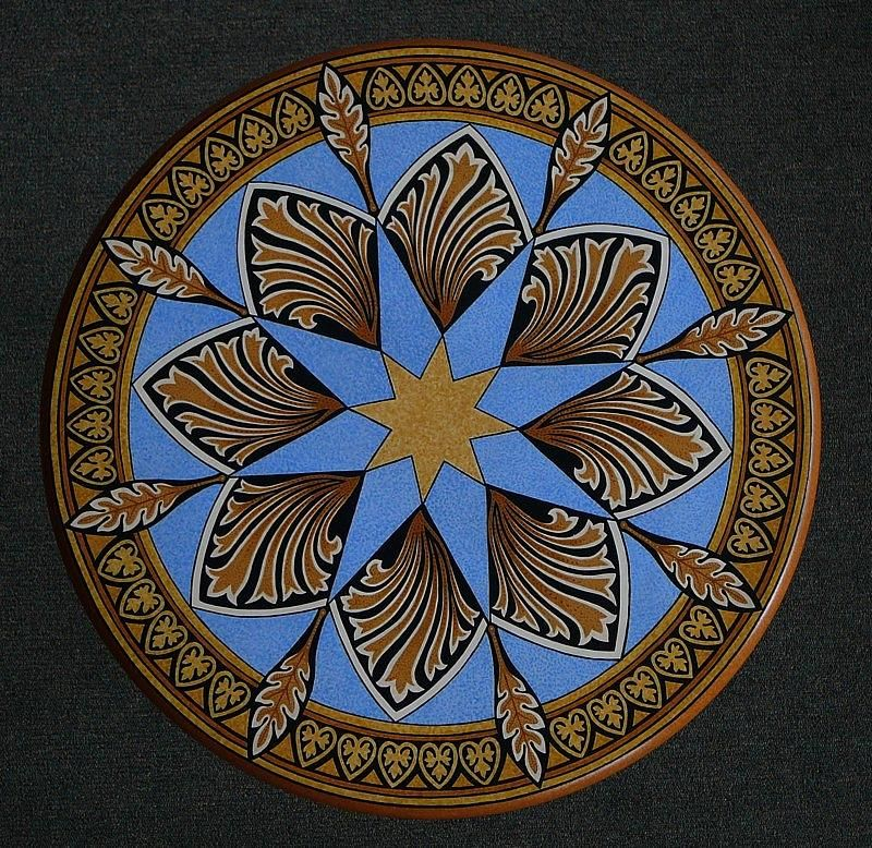 Ornament Mixed Media   Top Ornamental Painted Round Table By Andrea Ellwood