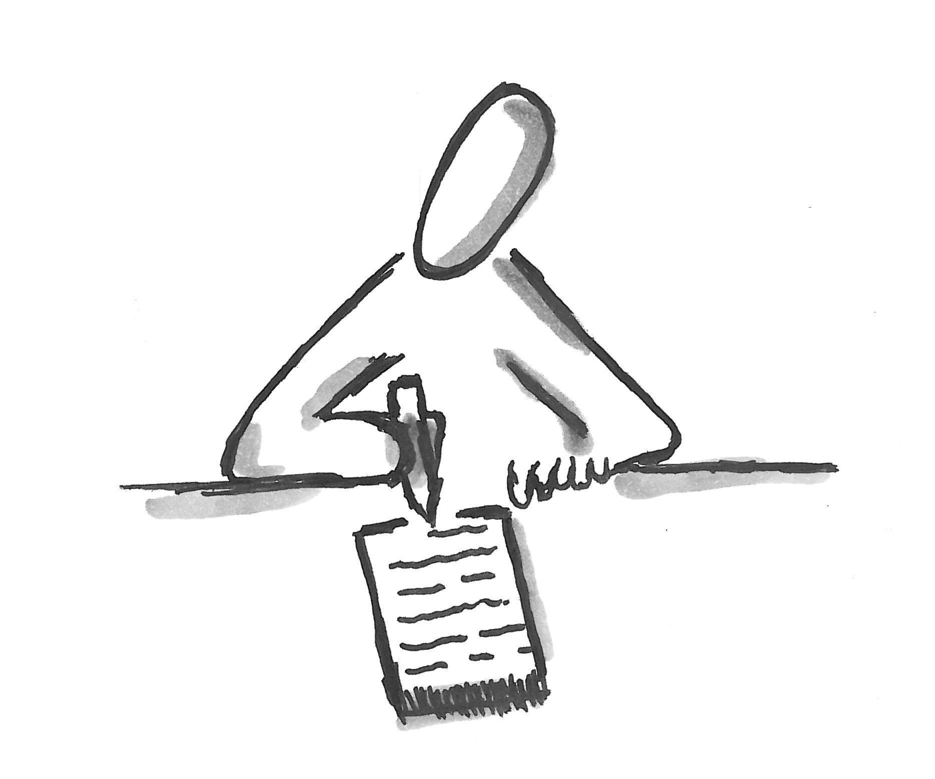 Symbol für Einzelarbeit, Stillarbeit, Test, schriftliche
