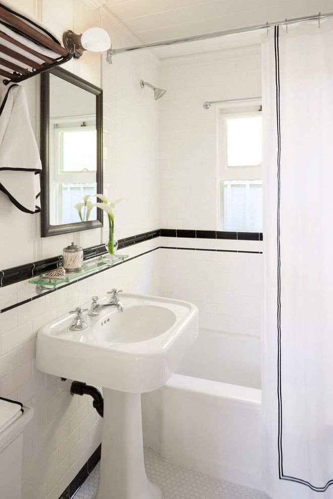 Superb Kohler Bancroft In Victorian Orange County With Pencil Tile Next To Border Alongside Half Tiled Wall And Black White Pinterest