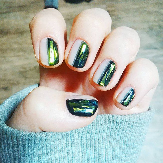 Give your mani a crystalized glass accent.
