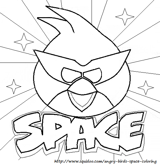 Angry Birds Space Coloring Pages Red Bird