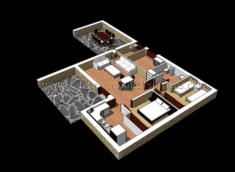 3d de distribuci n interior de casa r stica de planta baja - Fotos de casas de planta baja ...