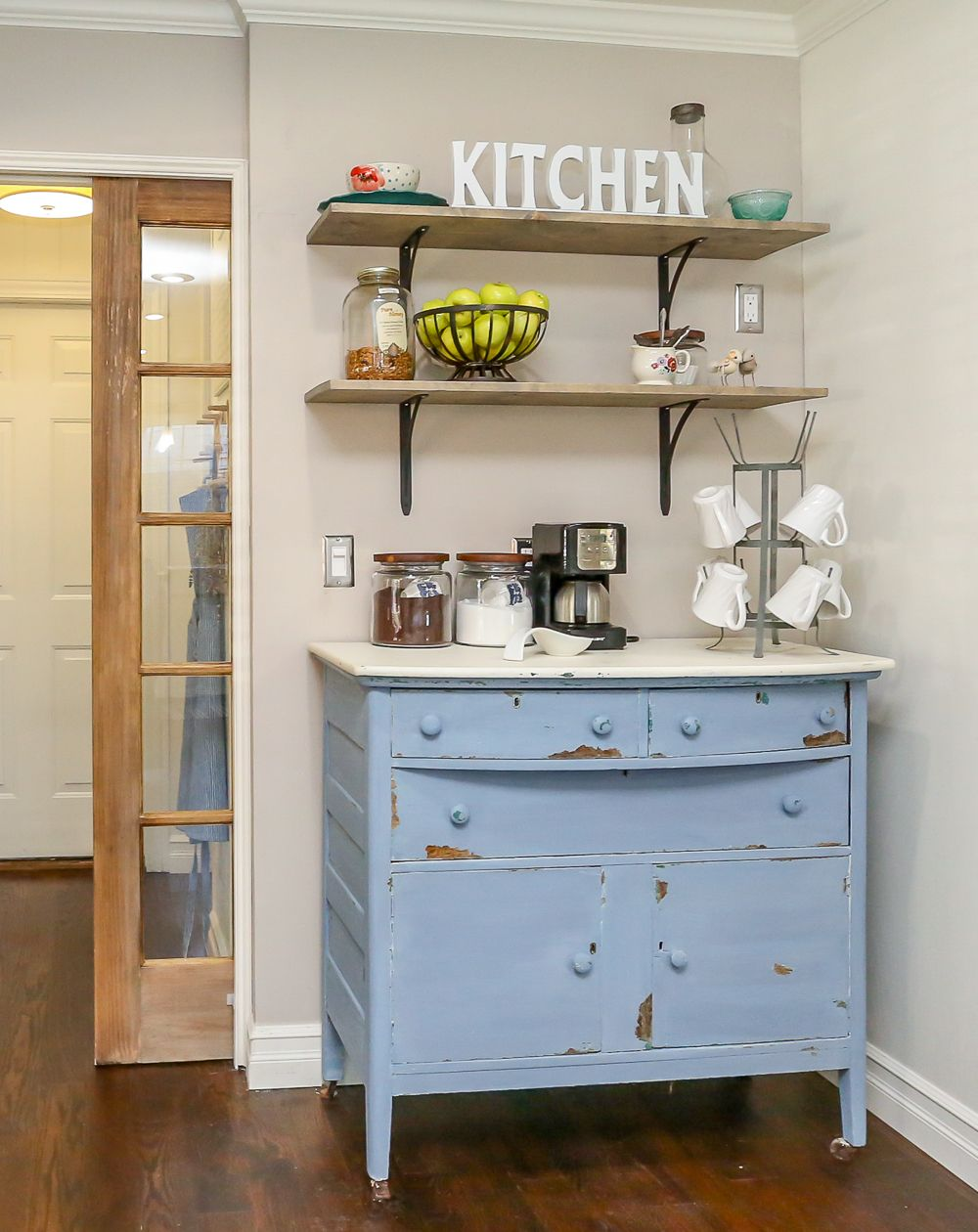 How To Build A Farmhouse Coffee Bar. Easy DIY Open Shelves And A Thrifted  Buffet Make For An Easy Kitchen Coffee Bar.