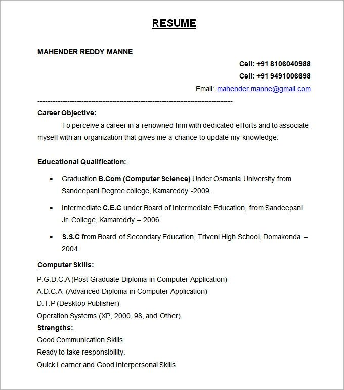 resume formats free samples examples format download - official resume format download