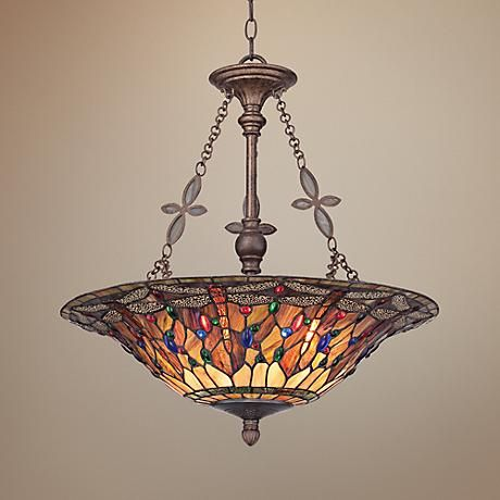 Quoizel Dragonfly 22 Wide Tiffany Style Pendant Light 3m268