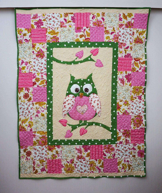 Owl Quilt, Patchwork Quilt for Children, Baby Girl Blanket, Green ... : owl quilt patterns baby - Adamdwight.com