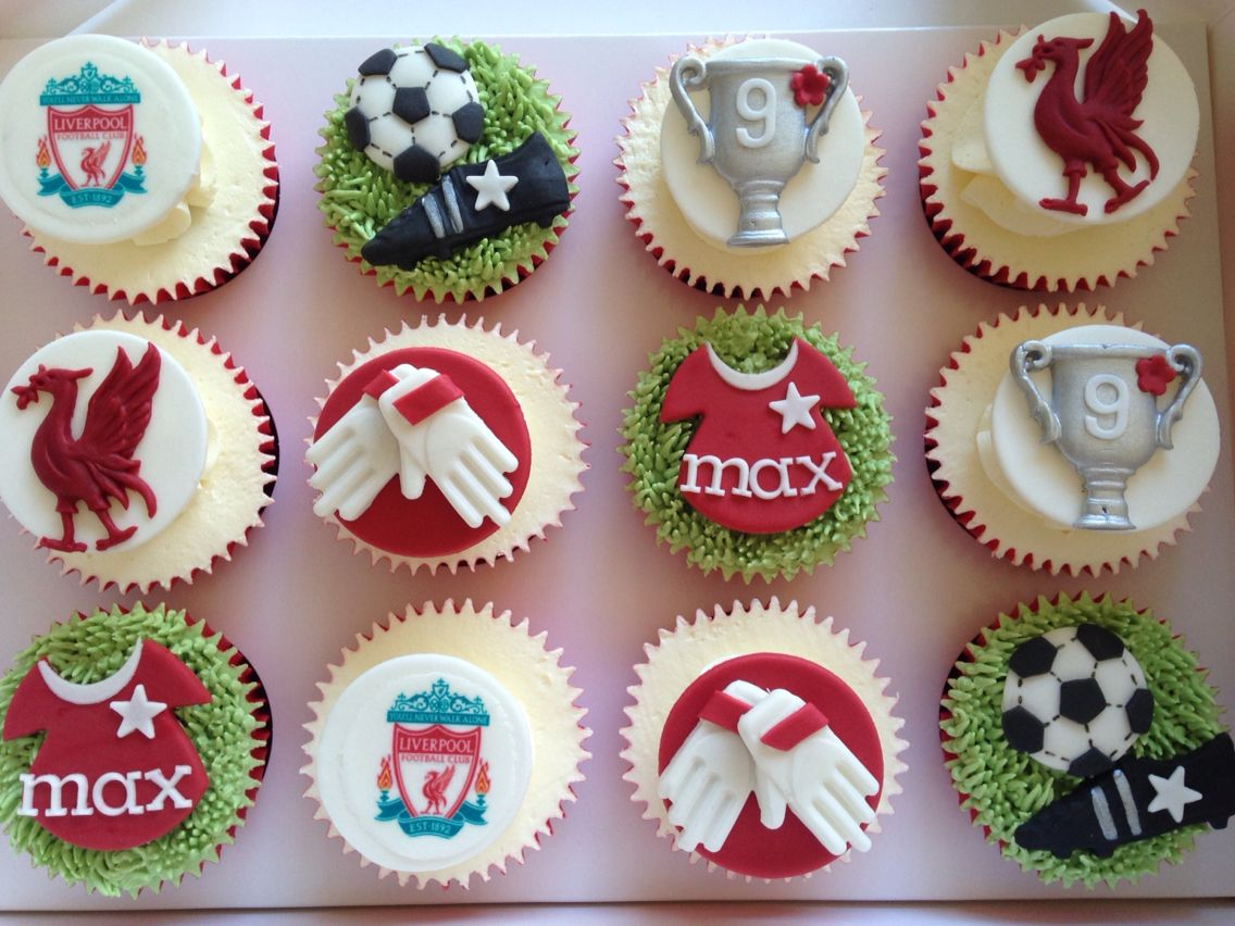 Liverpool Football Cupcakes Football Cupcakes Football Birthday Cake Liverpool Cake