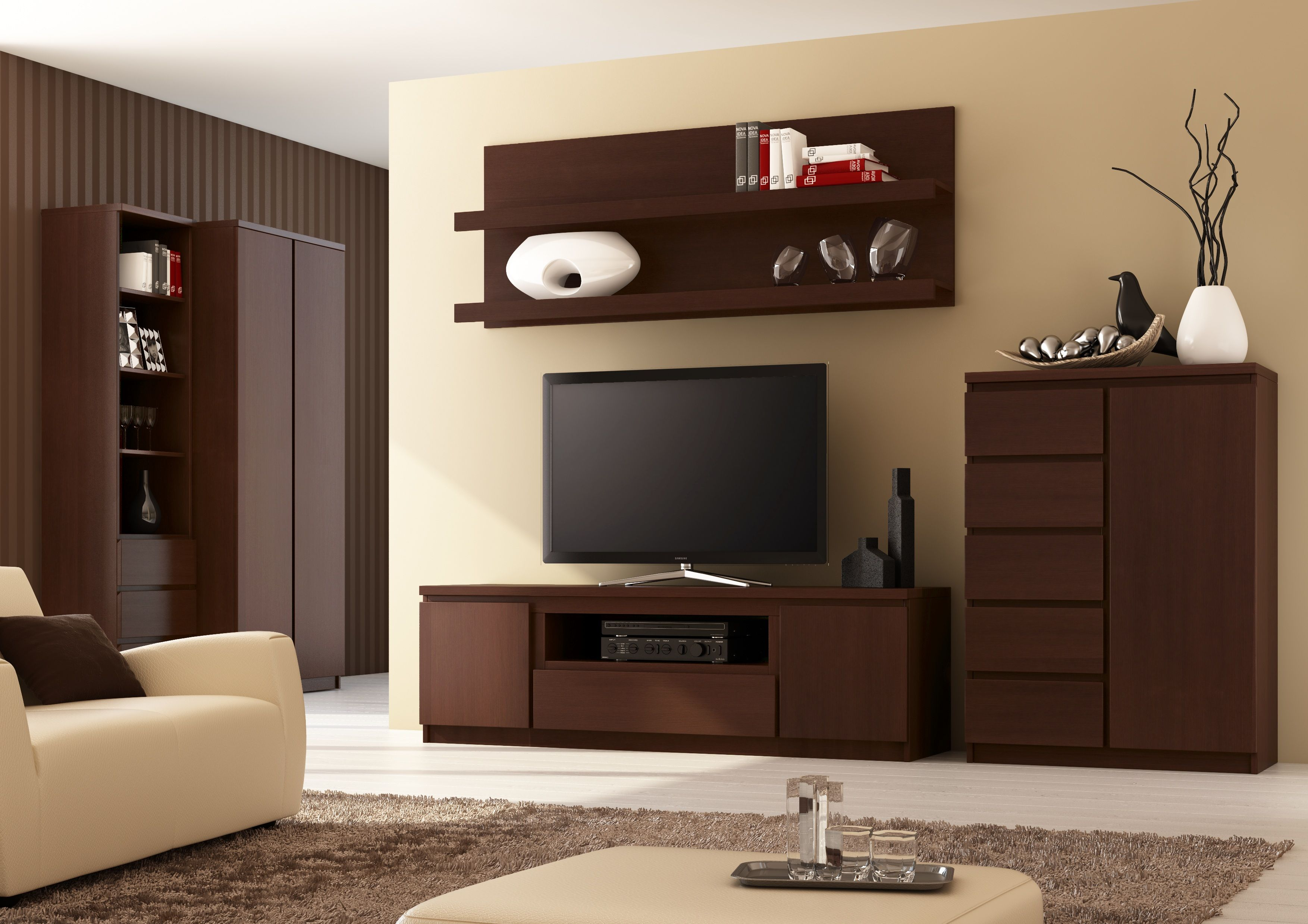 Pello 2 Brown Entertainment Center For 70 Inch Tv Living Room