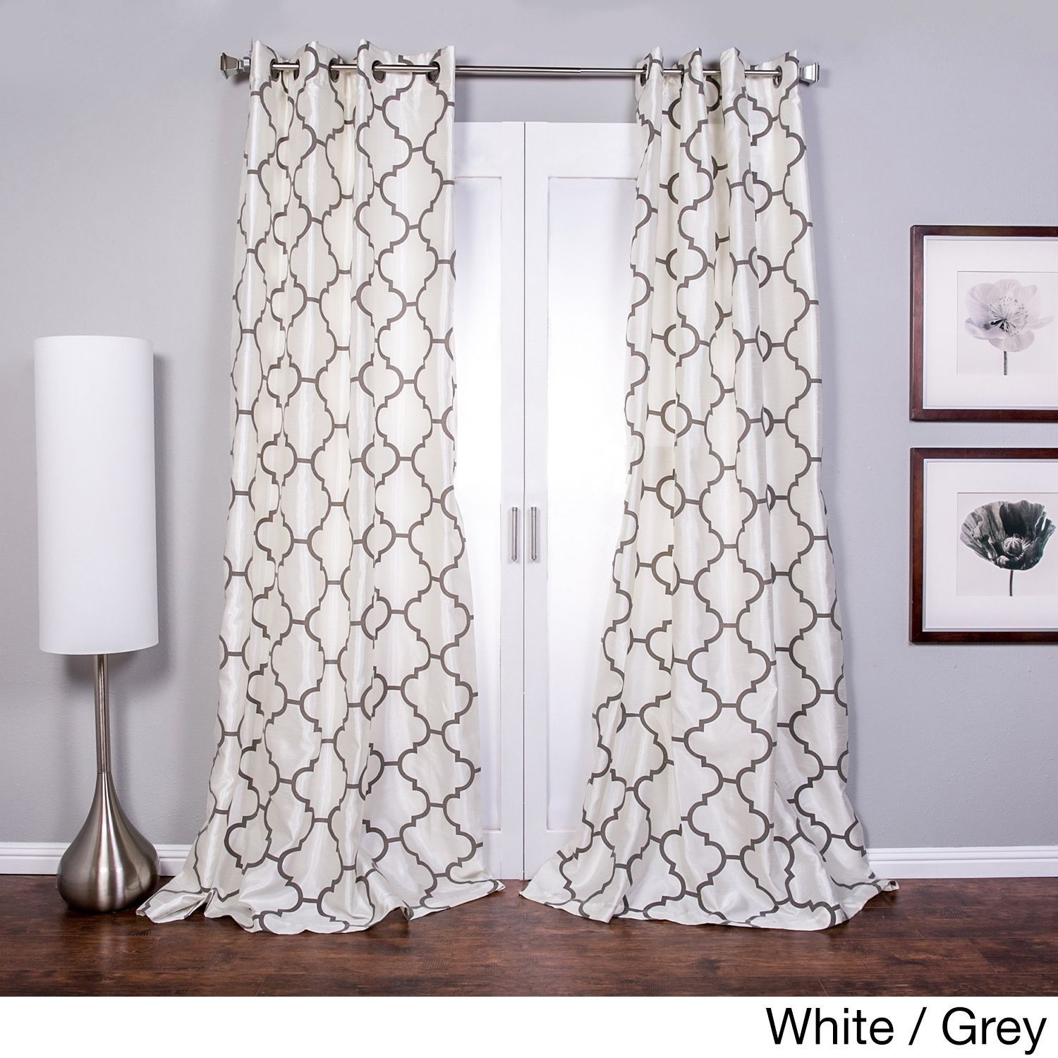 Lambrequin Morocco Flocked Faux Silk Grommet Top 96 Inch Curtain
