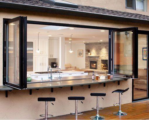Cocinas abiertas al exterior con barra de bar externa - Farolillos de exterior ...