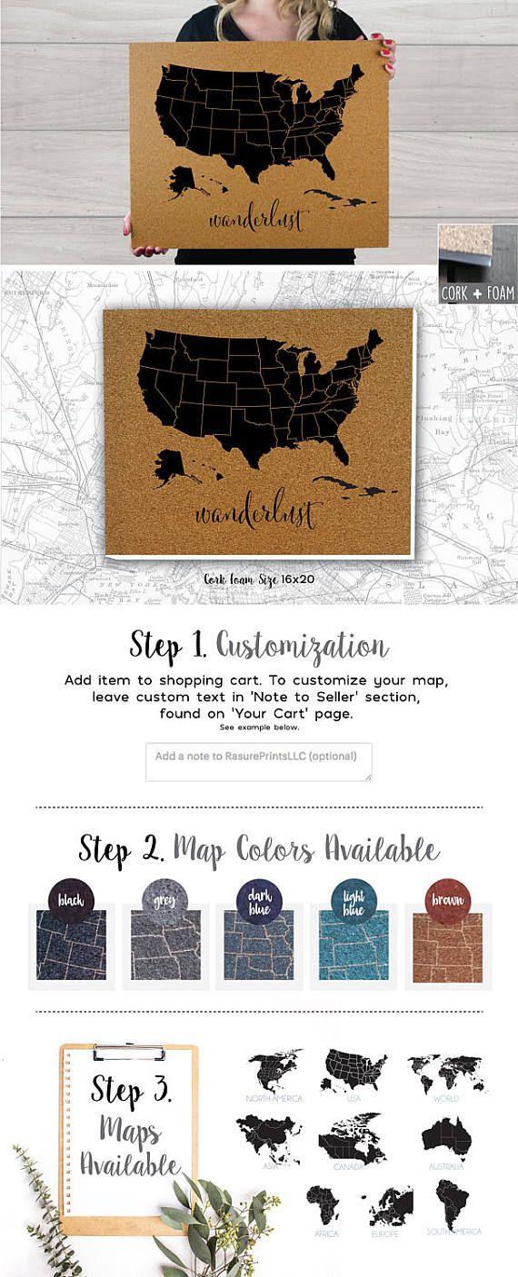 Cork Foam Push Pin Travel Map  16x20 Wanderlust  USA World