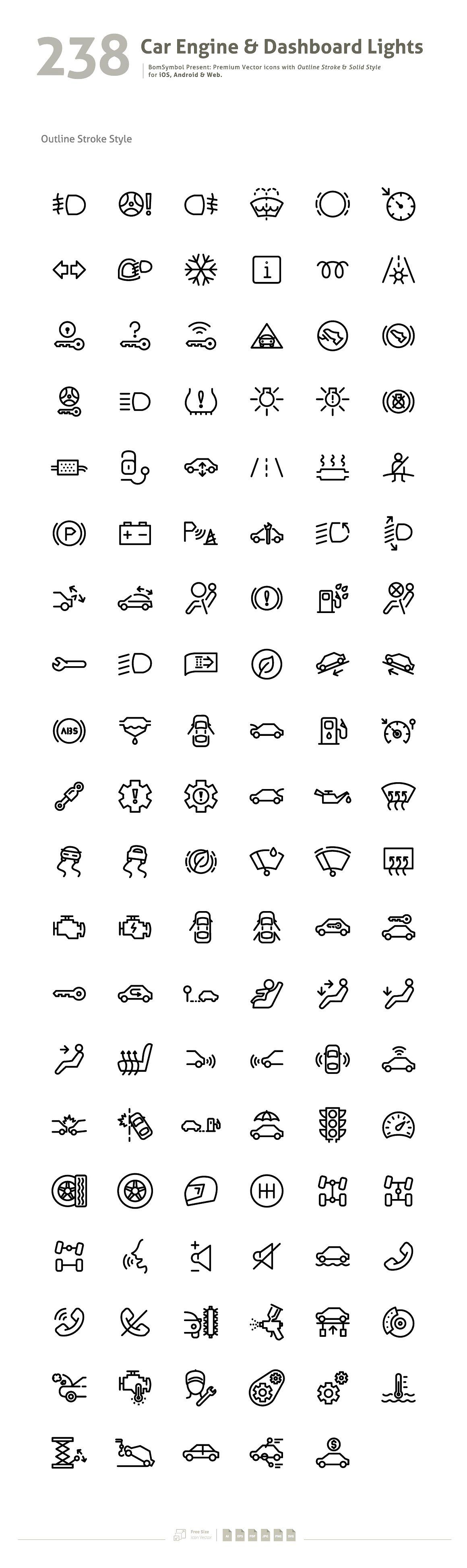 Car Engine Dashboard Lights Symbol Icons 2 Icon Set