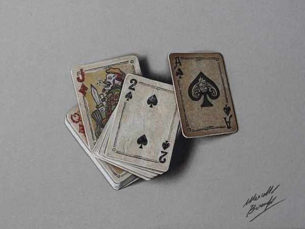 34. Marcello Barenghi – An Old Deck of Cards - This deck of cards looks so realistic, that it invites the viewer to reach and play!
