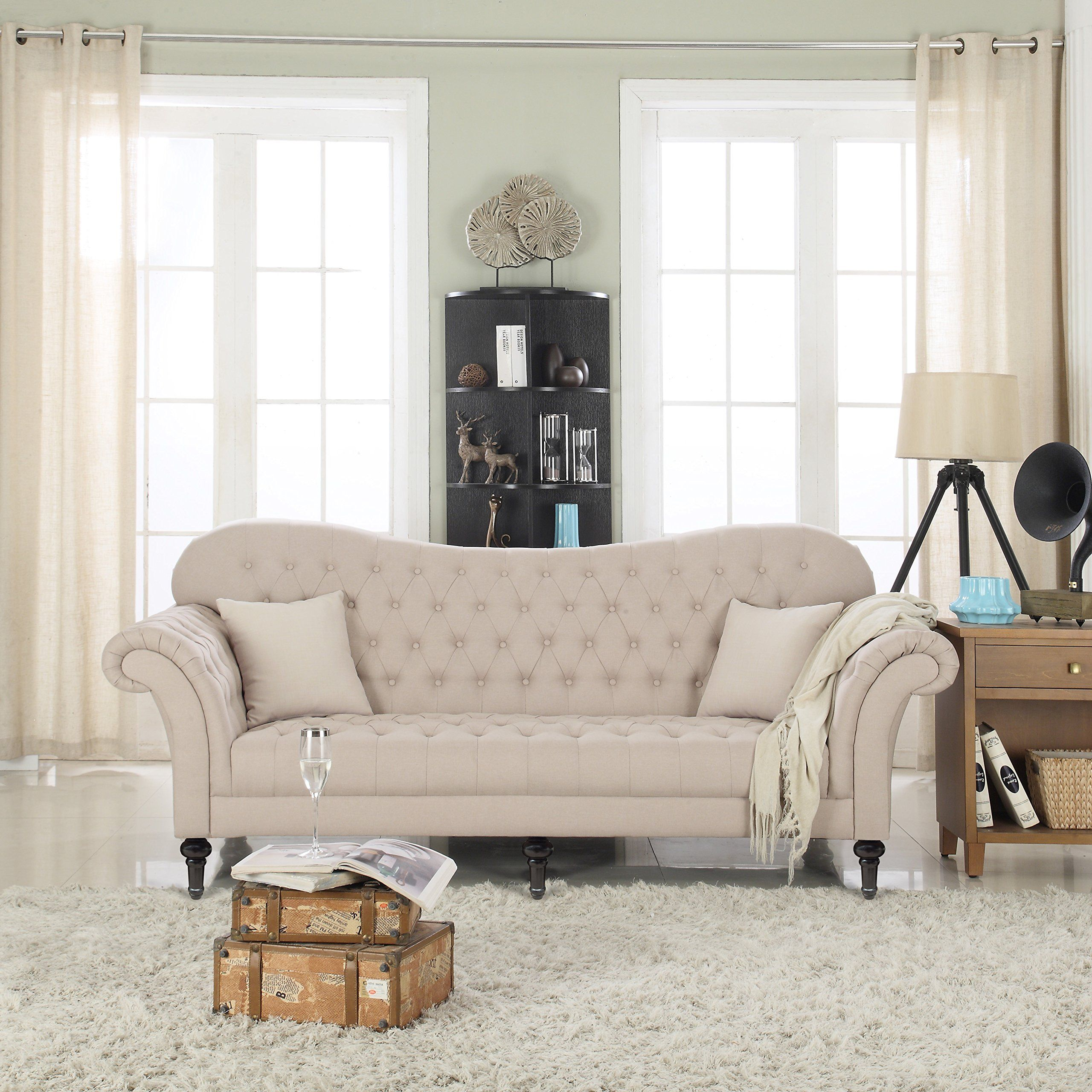Classic Chesterfield Tufted Linen Fabric Victorian Sofa with Scroll ...